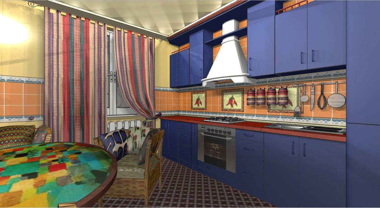 Дизайн кухни-столовой в15кв. мвмексиканском стиле