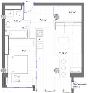 Нестандартная планировка однокомнатной квартиры скриволинейными стенами