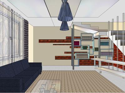 Дизайн— схема гостиной встиле хай— тек