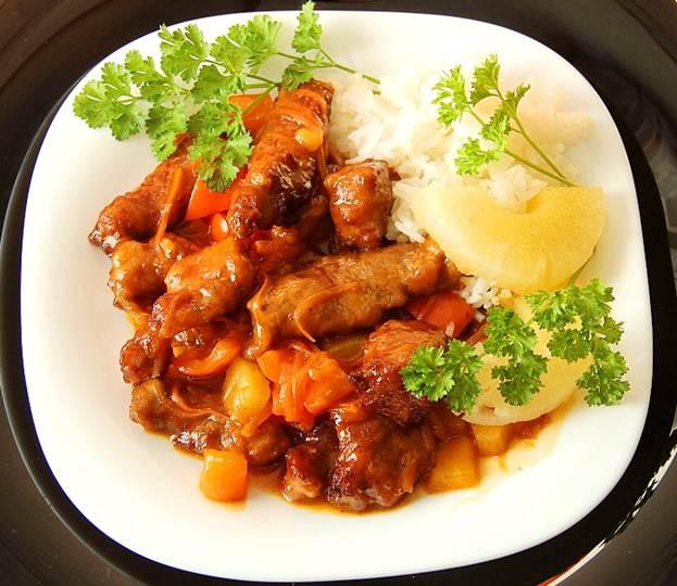 Пошаговый фото-рецепт приготовления свинины вкисло-сладком соусе вдомашних условиях