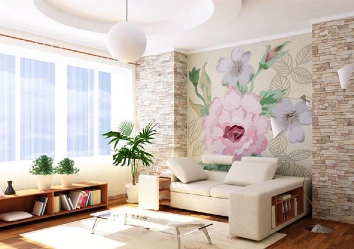 Декоративный камень  вдизайне гостиной