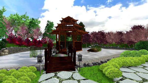 Дизайн-проект ради участка в6соток: японские мотивы
