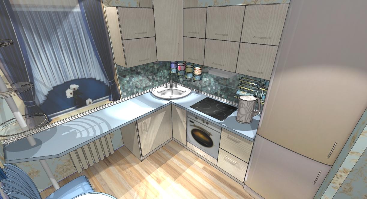 Дизайн маленькой кухне 7 кв.м
