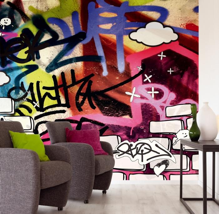 Граффити рисунки настене всовременном интерьере вашего дома— фото